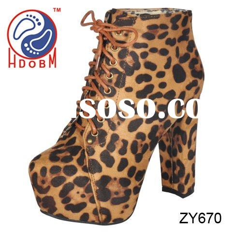 women leopard print ankle high heel ankle boots with platform