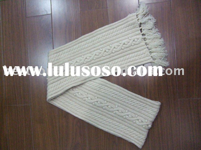 women's accessories 10% cashmere ladies cable long hand knit scarf with self yarn fringe BS-