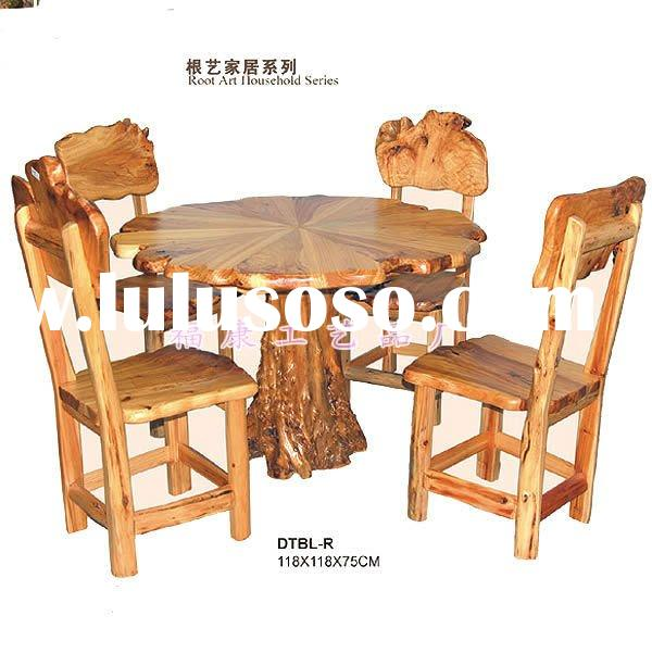 wood furniture antique table wood chairs for coffee drink and home use classic design