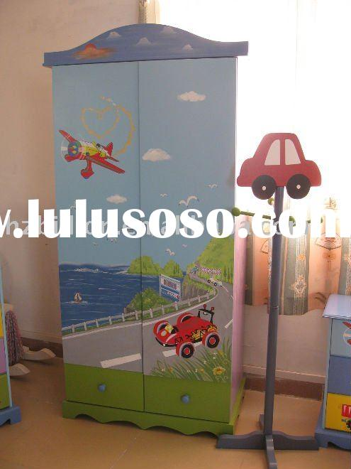 wooden kids furniture kids waredrobe hand painted furniture