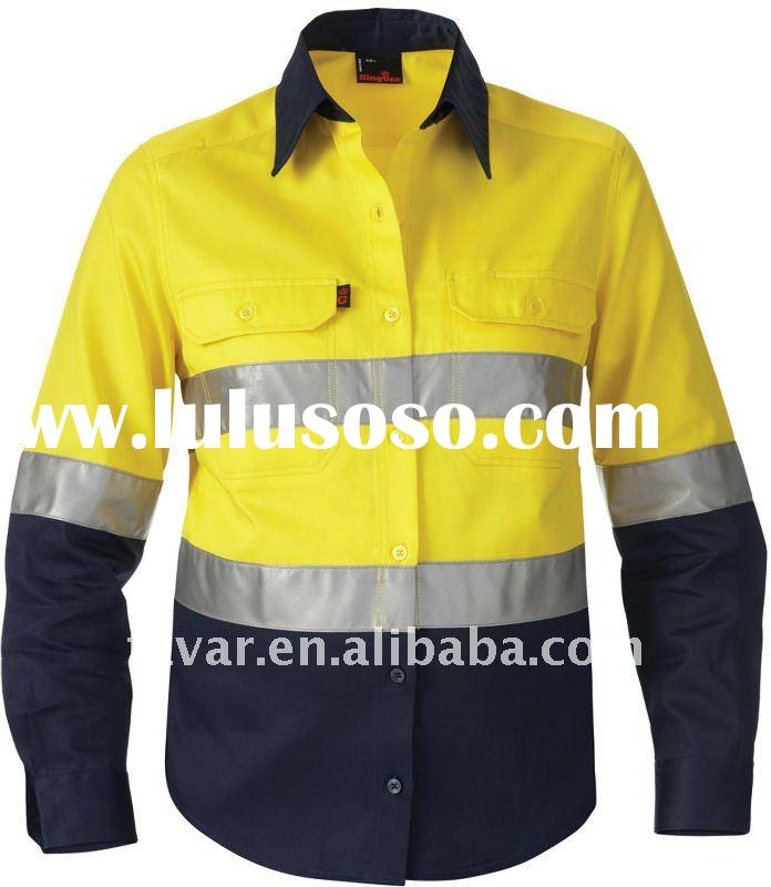 yellow cotton drill 3 m reflective mechanic outdoor safety work shirt