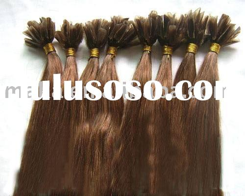 100% human hair extensions,remy quality,Nail bond ,pre-bonded hair