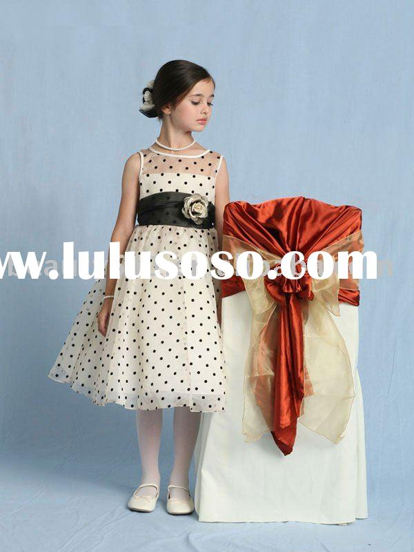 2011 hot sale black spot beautiful flower girl dress FGY063