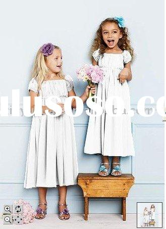 2011 new fashion short sleeves chiffon flower girl dresses DBF-008