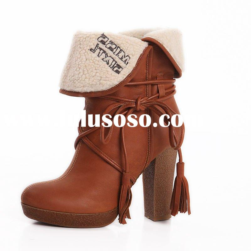 2012 Hot Genuine Leather Tassel Pumps Europe Roman Women Ankle boots Brown Size35-39