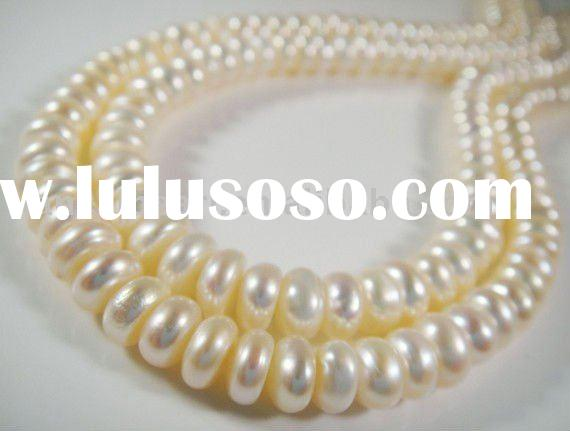 6-7mm rondelles, white freshwater pearl, smooth and lustrous Strand-Semi-Precious Stone Strand&G
