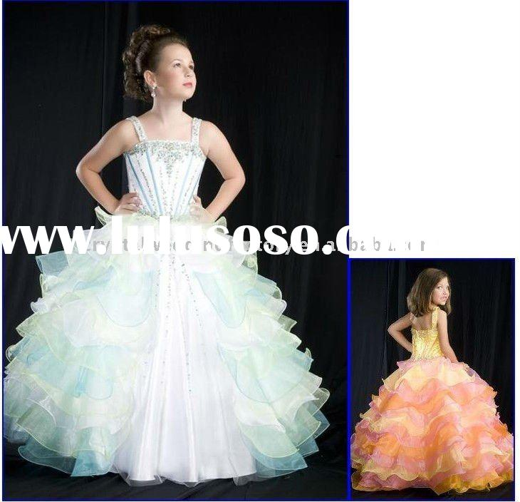 Beaded ball gown skirt custom-made flower girl dress/kid dress CWFaf1061