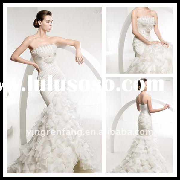 Charming Superior Flouncing Fairy Wedding Dress 2011 In Lebanon Satin Strapless Mermaid Ruffle Handm