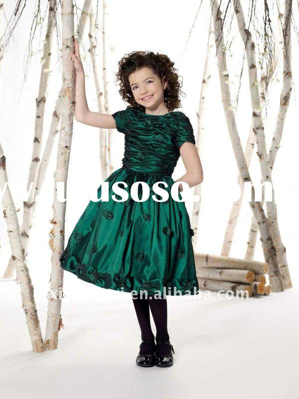 Dark green jr bridesmaid dresses modest taffeta party girls gown