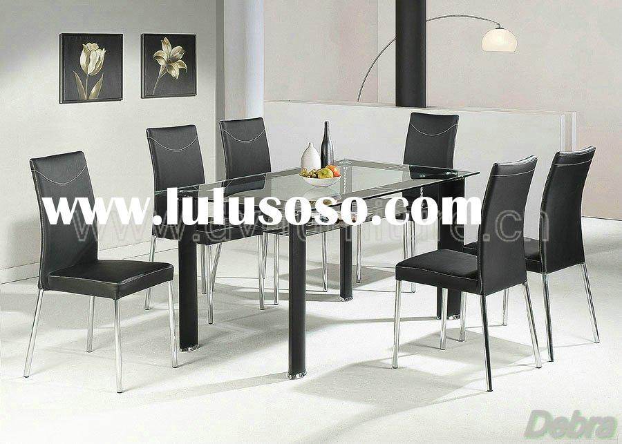 Delano Rectangular Clear Glass Table with 6 Black Chairs
