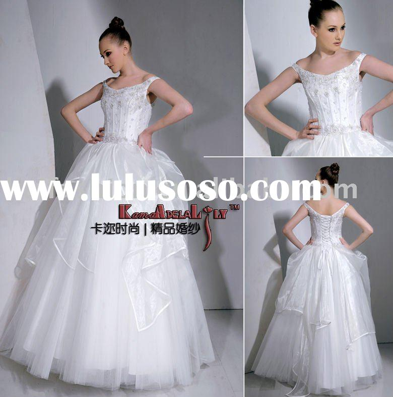 EB6002 tulle mesh hand beading dress puffy princess wedding dress