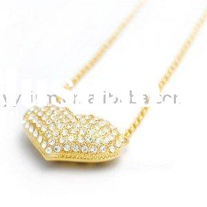 Elegant Yellow Heart Shape Rhinestone Pendant Necklace
