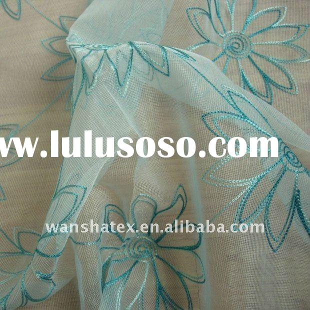 Emboridered gauze curtain fabric/polyester tulle curtain fabric