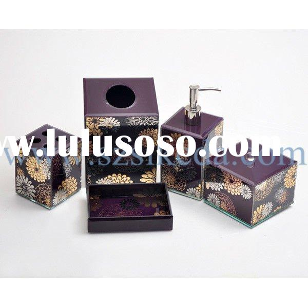 Exquisite glass bathroom set with flower pattern E024