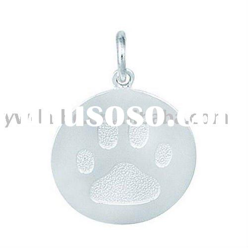 Fashion Paw Print Disc Shape Silver Plated Alloy Charm 180072,Alloy Pendant Animal Theme Jewelry
