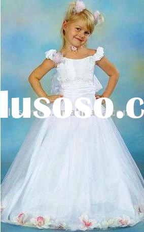 Fashion full princess lovely cap sleeves floor length flower girl dresses