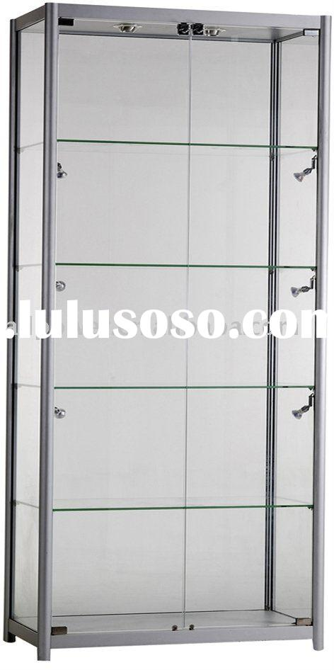Free standing glass cabinets, aluminum profile, tempered glass, halogen lights illuminations, MDF