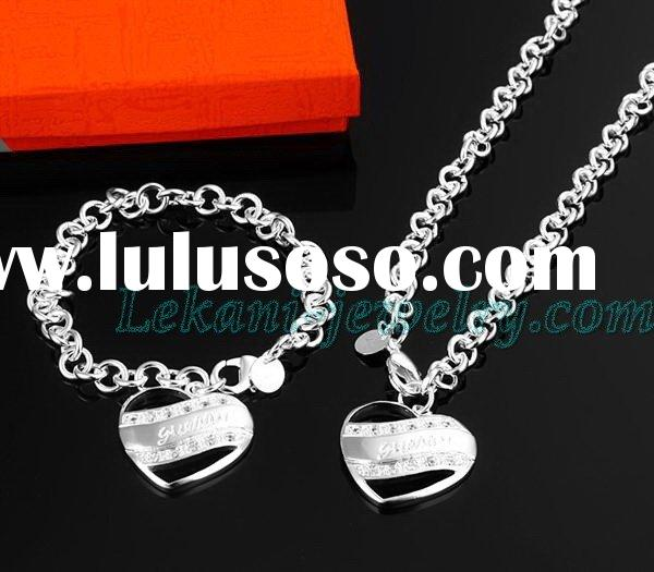 Heart silver jewelry set, fashion necklace and bracelet
