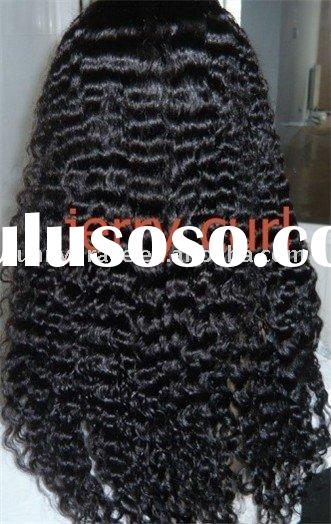 Jerry curl high quality brazilian human hair full lace wig