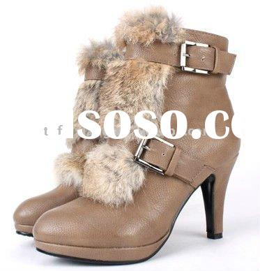 Lady's fashion rabbit fur shoes with genuine leather