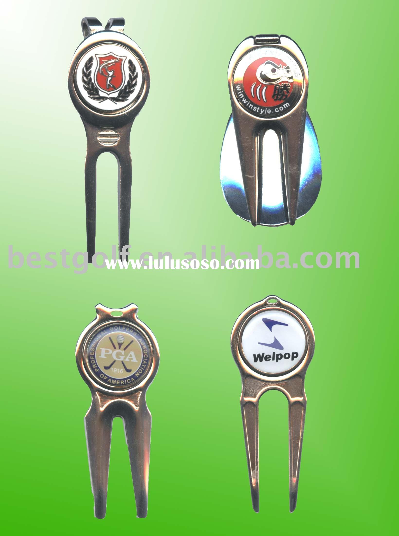 Metal golf divot tool with ball marker,golf pitch fork,golf product,golf accessory