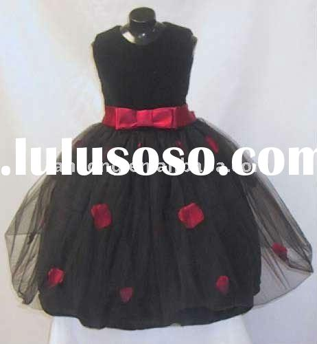 OEM new design strapless black appliqued flower girl dress
