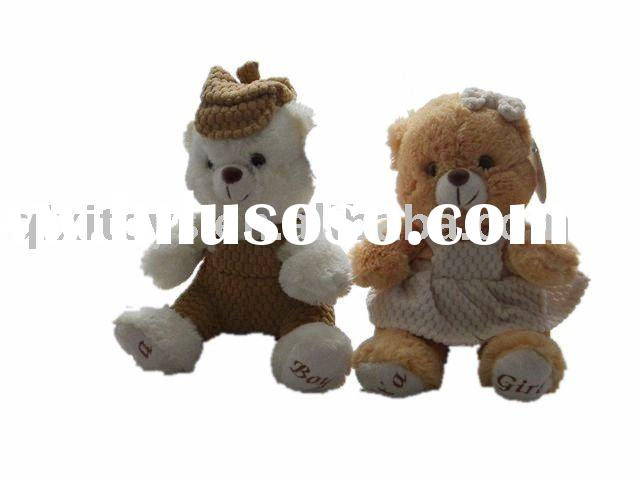 Plush toy teddy bear boy and girl with hat