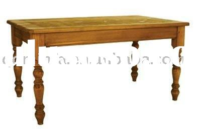 Rustic solid wood natural KD oak dining table
