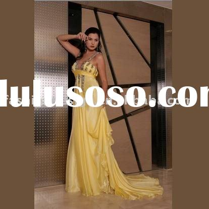 VE099 hand-made fist class famous star wear spaghetti strap chiffon evening dress
