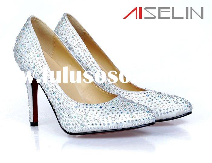 Women Designer Genuine Leather Crystal High Heel Pumps Shoes