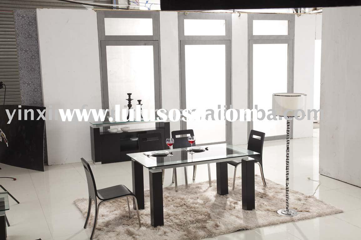 Wooden White Glass Dining Table 119#