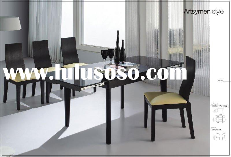 -NEW Extension DINING TABLE GLASS+WOOD-A708L-K