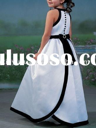 black and white well matched flower girl dress FOF-002