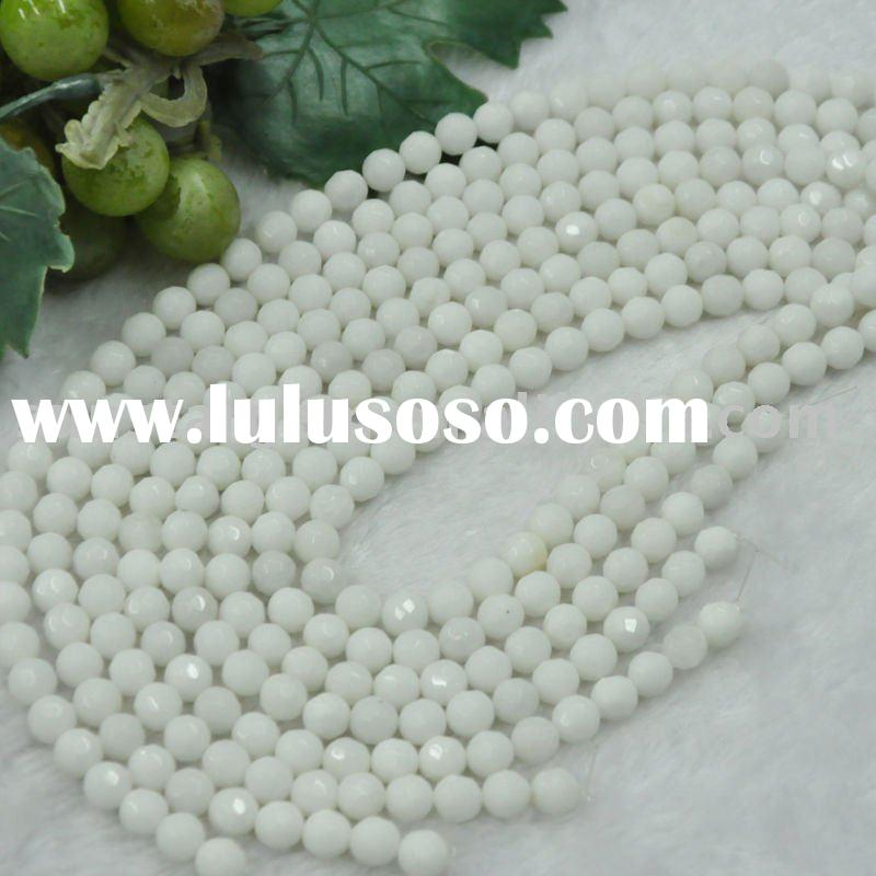 faceted 8mm round bead porcelain-white glass