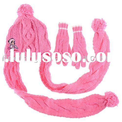 girl knitted hat ,scarf & gloves set
