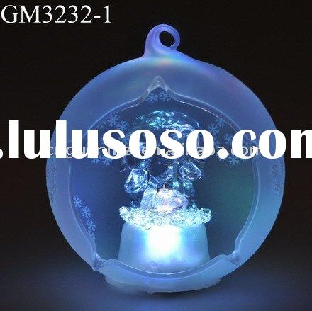 glass christmas tree decoration christmas family hanging ball with snowflakes and LED light