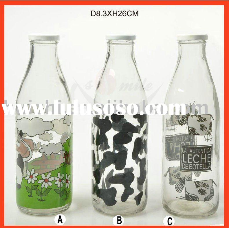 glass milk/juice bottle with decal