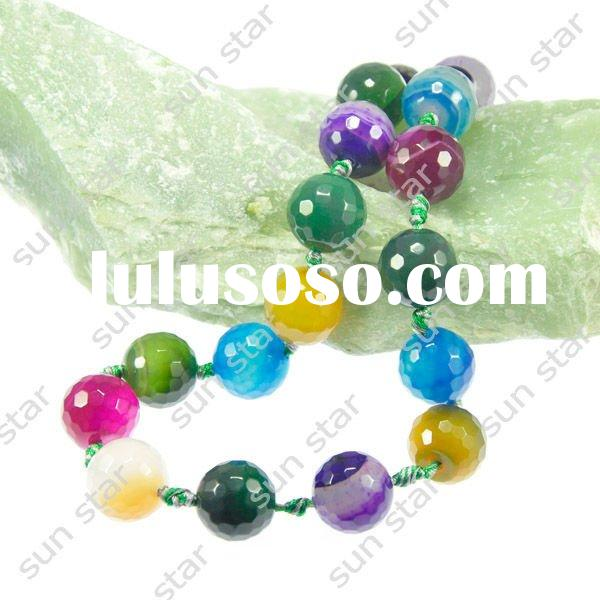 latest model fashion facet round bead mixtz agate necklace