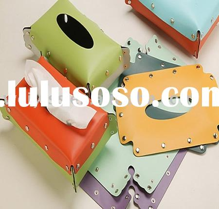 leather tissue holder. leather napkin box .leather rectangle paper box