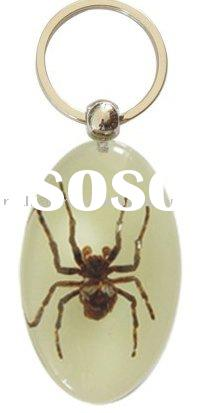 novelty gift items--real spider keychain, glowing in dark, perfect gift for kids&boys