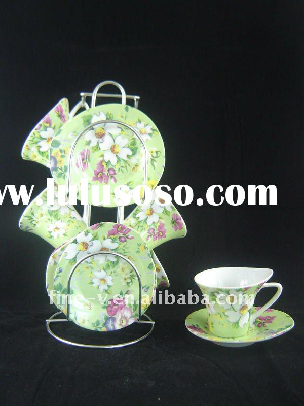 porcelain cup and saucer set with steel stand