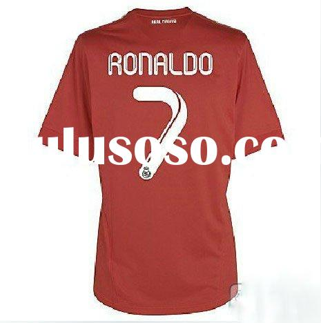 real madrid away red ronaldo soccer jersey
