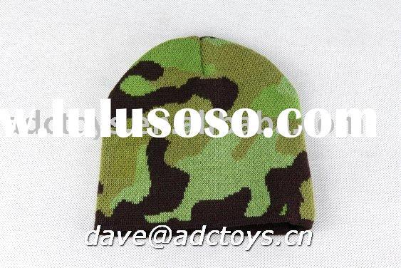 100% Acrylic Camouflage Color Dobby Cheap Fashion Men Winter Jacquard Knitted Beanie Hat