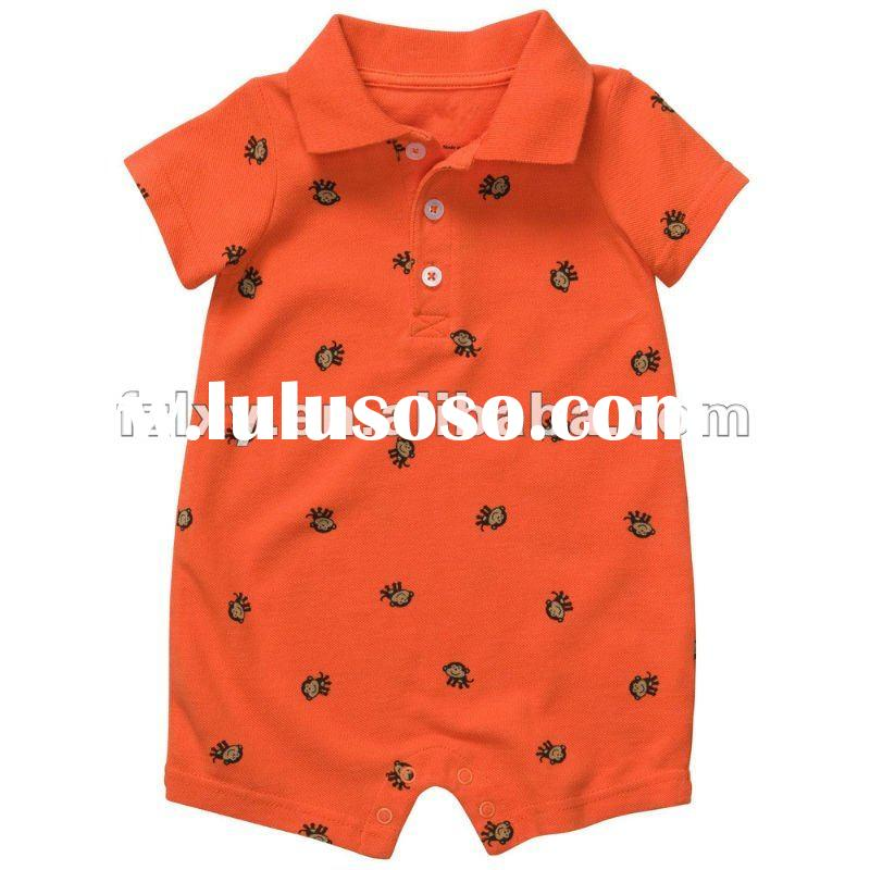100% cotton Short Sleeve Print Polo Romper