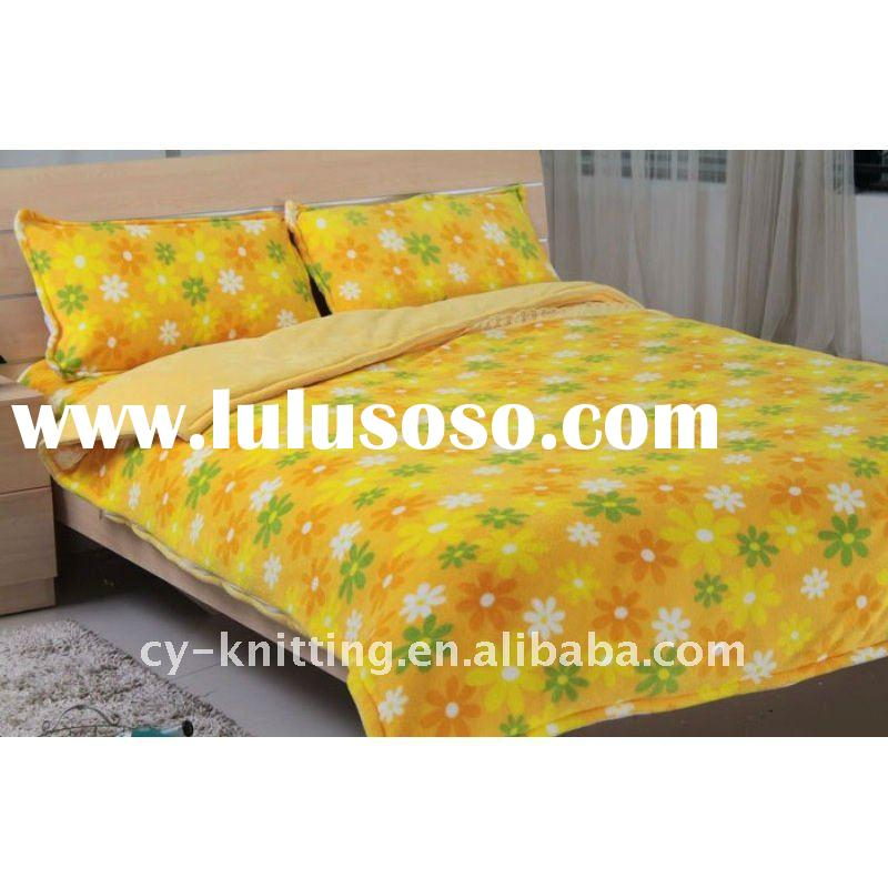 100% polyester print coral fleece Bedding Set:duvet cover,blanket,pillow cover