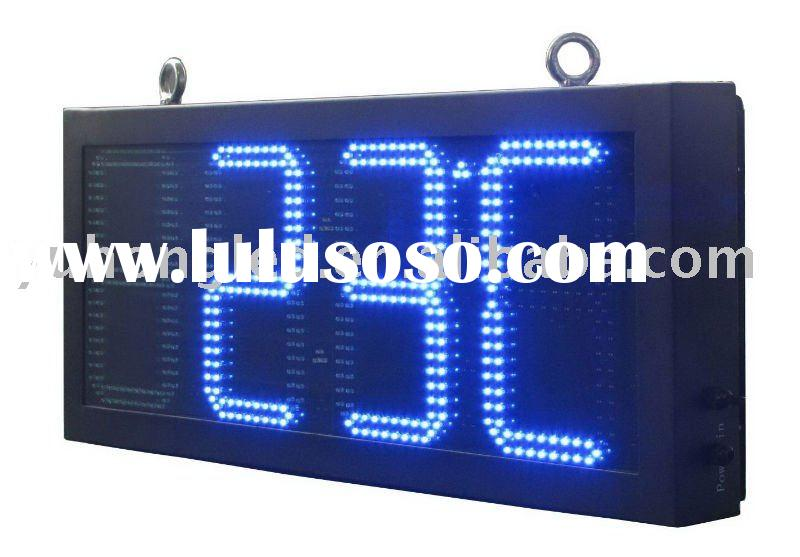 """10"""" 88:8C/F Outdoor LED Time Clock and Temperature Display"""