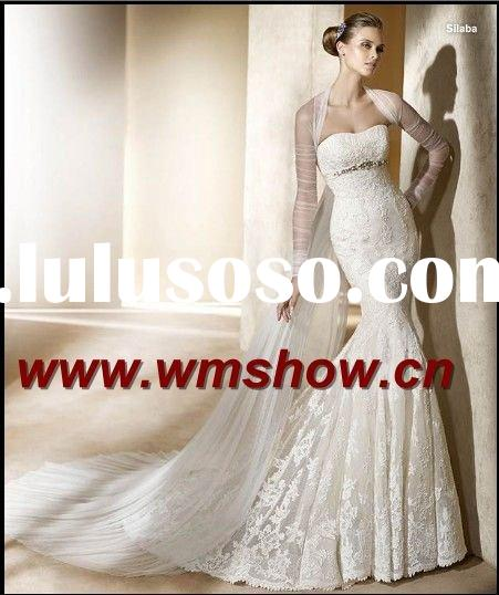 2011 Latest Style Beautiful Sweetheart Mermaid Long Sleeve Wedding Gowns