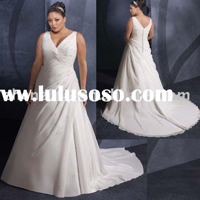 2011 New arrival PW-2024 zhenzhen satin chiffon plus size wedding dress