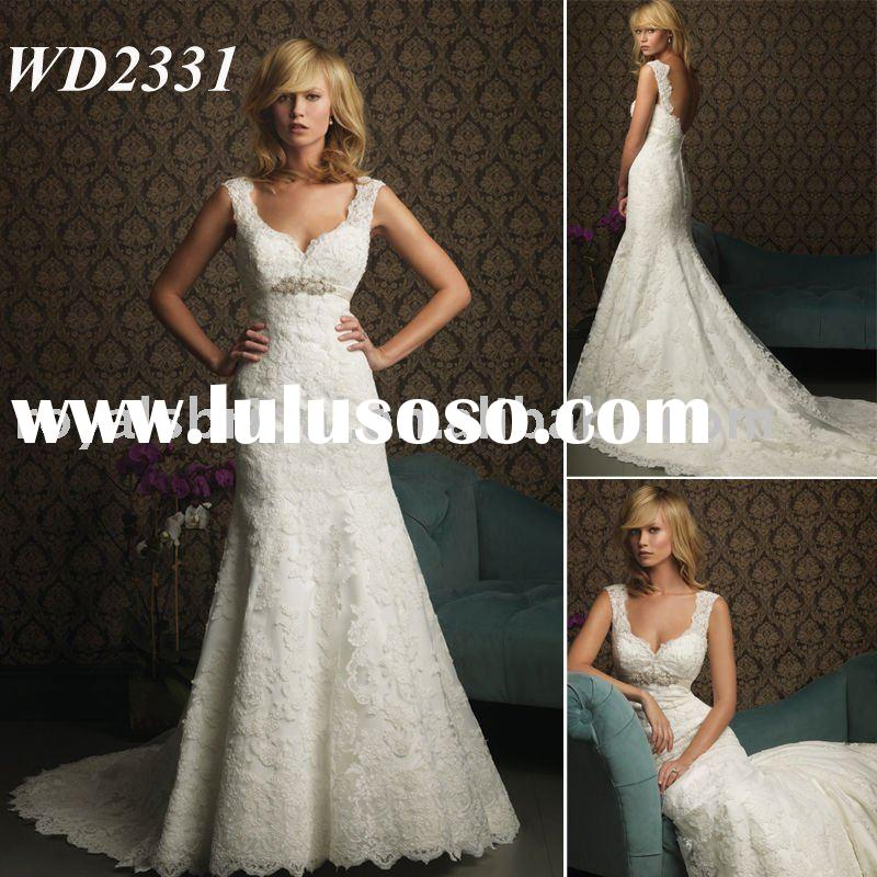 2011 Stunning Modest Design Custom Made Straps Zip Up Back Lace Bridal Gown Wedding Dress