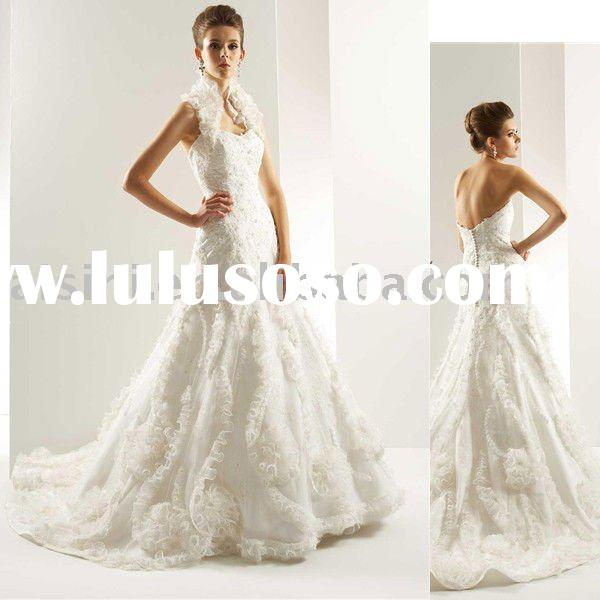 2011 T447 Jasmine Organza A-Line Chapel Train Bridal Gown Wedding Dresses